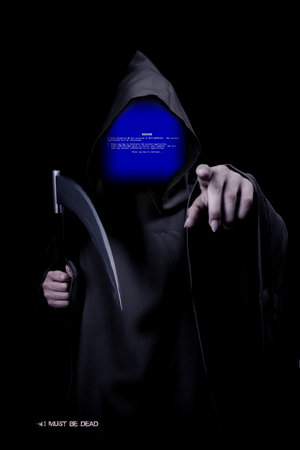 grim reaper with a blue screen of death as a face